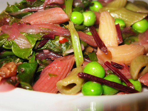 Pasta with Beet Greens & Peas