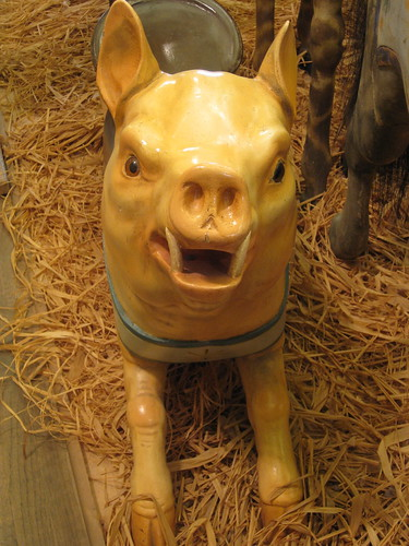 A not-so-friendly-looking carousel pig greets visitors to the carousel museum at Knoebels Amusement Park, Pennsylvania