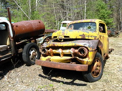 1951 (or is it a 1952?) Ford F-series pickup (sixty8panther) Tags: old ford 1955 broken colors yellow metal forest truck dead woods missing die farm parts rusty pickup 1954 f100 down f150 dirt unknown 1958 1957 junkyard 1956 foundart too scrap tough hue crusty wrecked 1950 towtruck 1949 patina abused 1959 1951 1953 fordtruck 1952 blanchards junked wrecker fseries sooc riich 1952ford 52ford oxidatioon