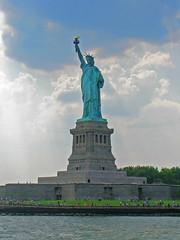 Statue of Liberty (Kevin Borland) Tags: park cruise sky usa newyork monument statue clouds island unitedstates landmark northamerica circleline northeast nationalmonument libertyisland newyorkharbor statueoflibery statueoflibertynationalmonument nationalparksofnewyorkharbor northeasternunitedstates semicirclecruise unitedstatesnationalmonument