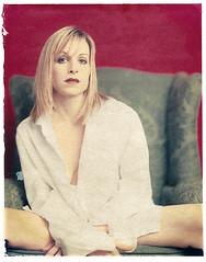 Denise Shirt (widegamut) Tags: blueeyes 8x10 muse blonde transfer largeformat polaroidtransfer alternate polariod viewcamera braless mensshirt sideblouse