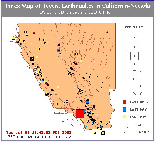 Maps of Recent Earthquake Activity in California-Nevada
