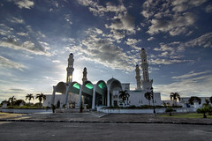 The Mosque (Jeremy-G) Tags: road blue trees sunset sky sun building green architecture digital canon grey evening exposure wide perspective mosque tokina 1224mm sabah hdr 3x photomatix tonemapped likas 400d
