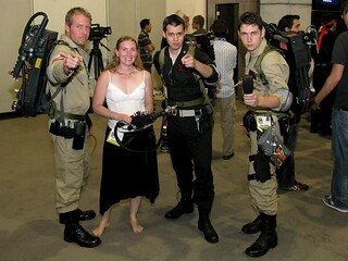 """Where is Joe?""  ""I don't know... Hey Lady, want to be a Ghostbuster?"" ""Uh... sure.  Am I dressed ok?"" ""Well we usually don't wear skirts and go out barefoot, but just try not to step in any goo."" by colorblindPICASO"