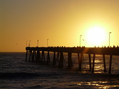 Pacifica Pier (*~Dawn~*) Tags: california sunset sky sun fishing glow silhouettes pilings pacifica fiery pierfishing beautifulsunset pacificapier pacificasunset pieratsunset peopleonpier