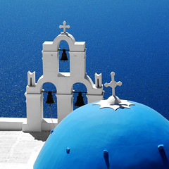 Santorini Blues (MarcelGermain) Tags: travel blue roof light sea 2 summer vacation two mer white 3 blanco church beautiful azul architecture bells square geotagged greek three mar nikon holidays mediterranean mare shadows cross blu aegean crosses sunny 11 bleu greece belfry grecia dome blau azzurro bianco blanc grce cyclades thira cycladic fira firostefani 500x500 belfries grcia  d80  marcelgermain