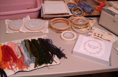 Getting Stuff Together for Crewel Embroidery Class