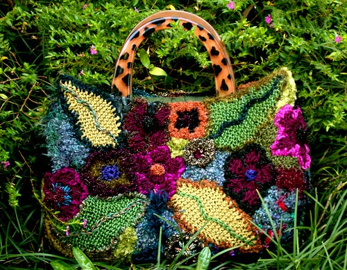 floral freeform knit and crochet purse