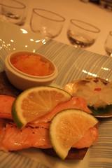 Third: roasted salmon, ikura and daikon namasu, kikka kabu