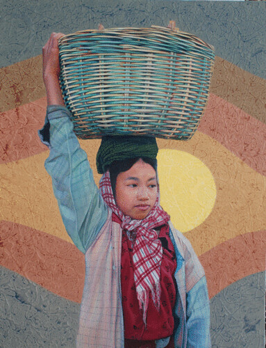 Hill Tribe of Myanmar series 8, by Tin Win, mixed media, 90x120cm