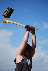 Thump! (teddypetal) Tags: wood man mike axe chop