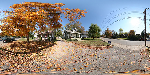 2008 11-04 Panorama of our Front Yard and Driveway