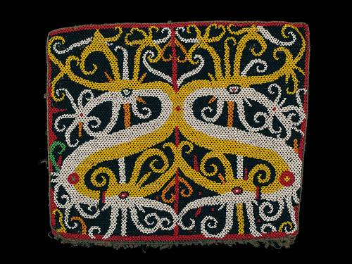 //Bead Panel,// Kayan people. Borneo 20th century, 31 X 27 cm. From the Teo Family collection, Kuching. Photograph by D Dunlop.