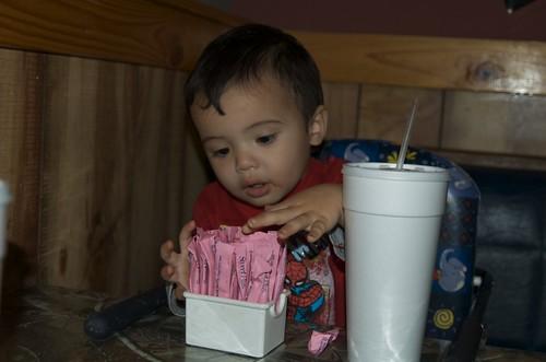 Benji improvising toys
