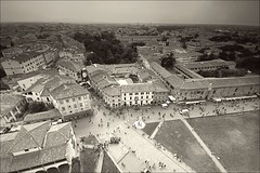 From the leaning tower of Pisa (Nada*) Tags: city travel bw italy streets tower town high europe view angle fromabove pisa tuscany traveling visiting pisatowerview