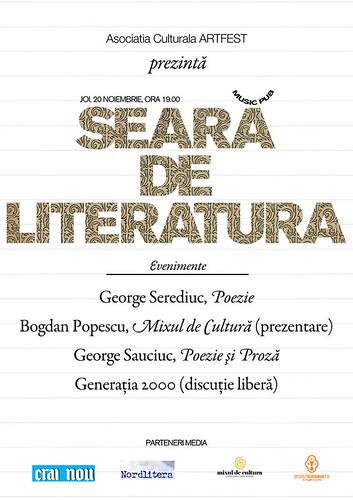 20 Noiembrie 2008 » Seară de literatură