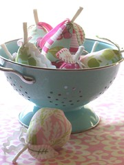 Sugared Pears (Retro_Mama) Tags: christmas pink holiday fruit stuffed aqua lotus farmersmarket plush ornament pear aviary pincushion colander amybutler wallflower sugarplum joeldewberry sandihenderson