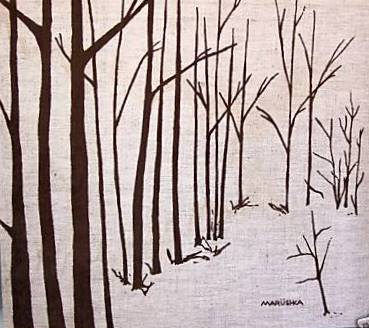Marushka - trees (brown on linen)