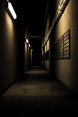 End of Everything (Evan Stoecker) Tags: night dark lights hall shadows pipes cement pathway calpoly goldenglobe aplusphoto