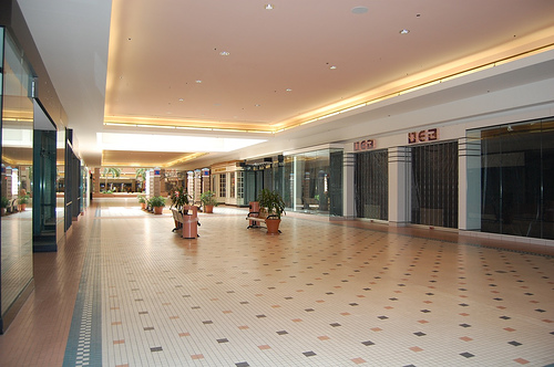 Cloverleaf Mall, virtually empty in Chesterfield County, VA (by: barxtux, creative commons license)