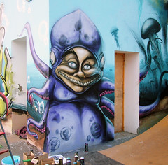 mr.octopus (mrzero) Tags: park art water animal wall writing effects graffiti mural paint hungary character name eger under meeting fork spray just human skate octopus colored spraypaint este graff jam cfs mrzero kommuna