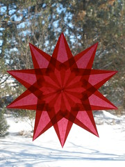 Red 10 Pointed Christmas Window Star -