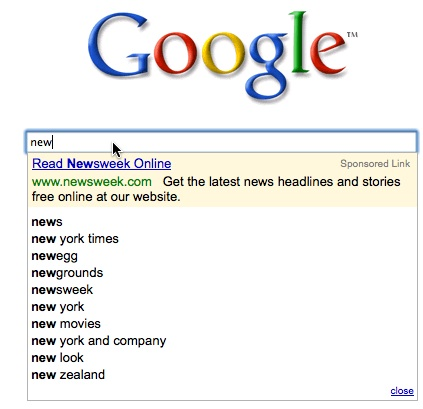 Newsweek Ad In Google Search Suggest
