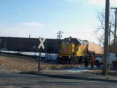 Union Pacific crews exchanging greetings on a spur siding. Chicago Illinois. January 2007.