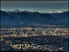 City, Suburb, Ocean, Mountain (ecstaticist) Tags: city travel snow canada building tree water vancouver plane downtown bc aerial richmond casio kitsilano suburb float hdr neighborhoods mountian photomatix pseudohdr exf1 skyscraoper