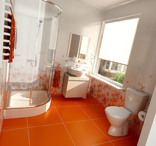 Beautiful Red Bathroom design for Roca producer, by InsideLab