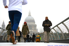 Run down.... (law_keven) Tags: bridge winter england people cold london running millenniumbridge explore500
