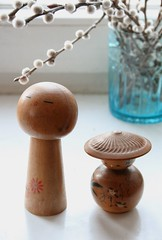 singing kokeshi (allerleirau) Tags: light stilllife cute japan vintage still dolls retro collection kokeshi windowsill collected thrifted