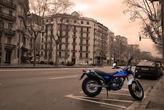 Selective colour effort (Globalviewfinder) Tags: barcelona travel vacation bw white holiday black color colour bike sepia spain nikon europe catalonia espana motorbike backpack selective d80 nikond80