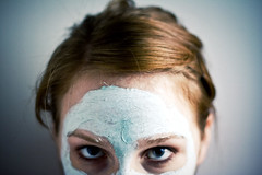 (morgan.laforge) Tags: blue red portrait abstract face hair eyes mask stare sarabolander