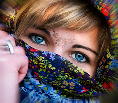 Portrait of a woman #8 reworked (.craig) Tags: portrait people italy girl face eyes hand outdoor blueeyes headscarf fringe shawl individuals