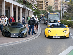 Marussia B1 & Marussia B2 (piolew) Tags: auto show green car yellow photography grey nikon top live automotive montecarlo monaco april b2 carlo monte russian marques supercar spotting digest b1 2010 combo spotter d80 marussia piolew
