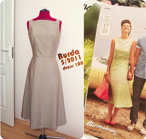 Burda 05/2011 #108, sukienka, szycie, krawiectwo, popelina merceryzowana, bawełna, 60s, 40s, szafiarka,