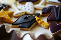 graduation cap (Elizabeth / LoneStarsandStripes) Tags: cookies hearts stars graduationcap champagneglass royalicing