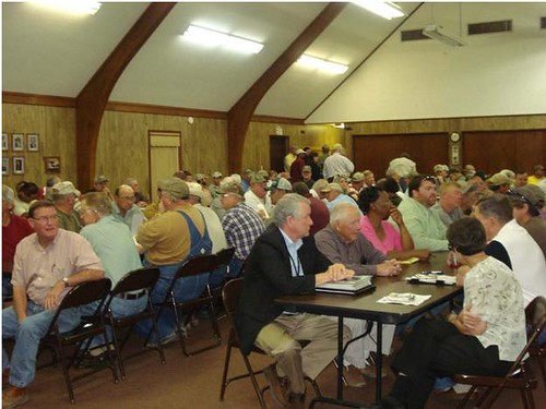 Residents of Marvell, Arkansas, meet to hear remarks by USDA Undersecretary Dallas Tonsager.  Tonsager discussed programs available through USDA to help victims of flooding and other disasters.