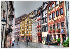 Weissgerbergasse Nuremberg (Habub3) Tags: street city travel flowers vacation sky holiday architecture buildings germany bayern deutschland bavaria nikon europa europe strasse urlaub nuremberg historic architektur altstadt gebude hdr vacanze nrnberg reise nuernberg gasse fachwerk d300 weissgerbergasse habub3 mygearandme