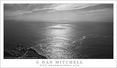 Point Reyes Lighthouse, Pacific Ocean (monochrome) (G Dan Mitchell) Tags: ocean california park county travel blue light sea sky blackandwhite panorama usa sun lighthouse house seascape building nature water monochrome clouds stairs point landscape photo ray pacific god marin horizon stock steps scenic cliffs historic national shore northamerica seashore rugged bluff reyes steep vast