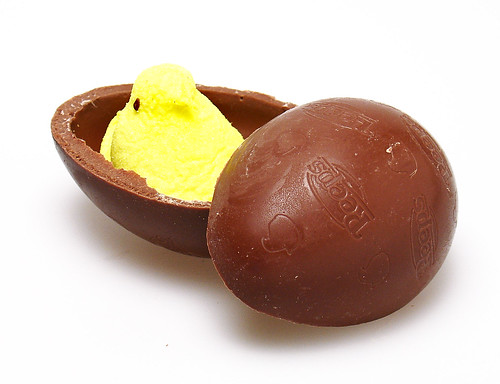 Peeps inside a Milk Chocolate Egg