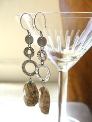 leopard jasper dangles (handcranked) Tags: jasper jewelry earrings pmc dangles finesilver dangleearrings leopardjasper