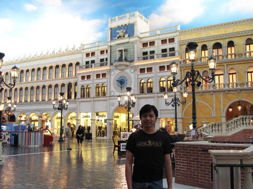 The Grand Canal Shoppes inside Venezia, plus me