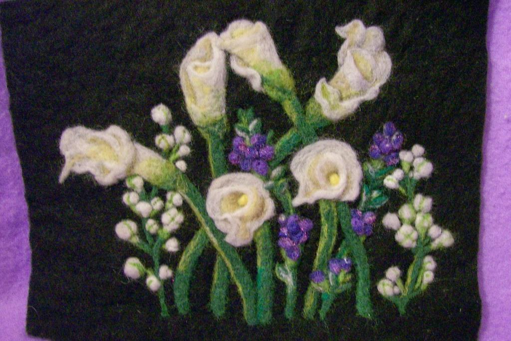 Fiber art-Cala Lilies