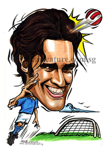 Caricature of Luca Toni colour watermark