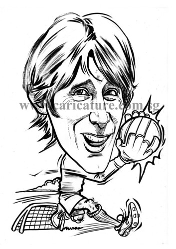 Caricature of Edwin Van Der Sar ink outline watermark