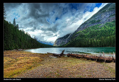 Avalanche Lake Beach - Glacier National Park (nip2655) Tags: road park trip blue summer vacation sky mountain lake cold tree green beach water beautiful pine america big high montana place dynamic nps earth turquoise country aquamarine peaceful grand best glacier alpine national serenity serene lovely icy range tranquil hdr hdri avalanche omot nip2655