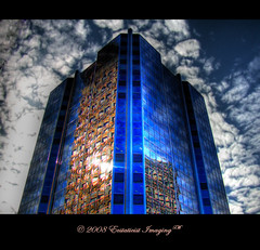 Bluescraper (ecstaticist) Tags: blue sky cloud reflection window skyscraper casio gastown hdr coalharbor ecstaticist aplusphoto exf1 bauhausrendezvous