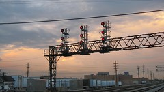 Block signals at sunset. Franklin Park Illinois  June 2008.